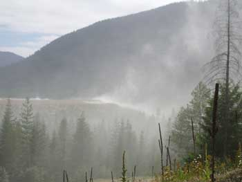 Dust blowing off a tailings pond at Troy